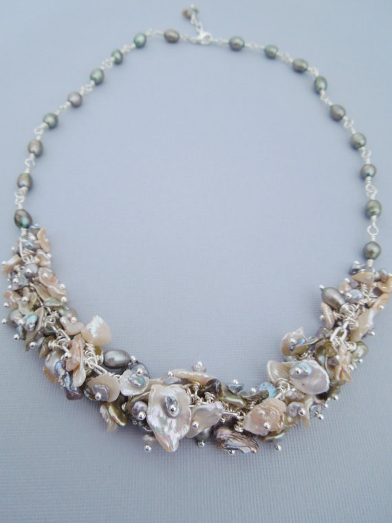 Luxe Keishi Pearl Necklace  Dripping With by hangingbyathread1, $92.00