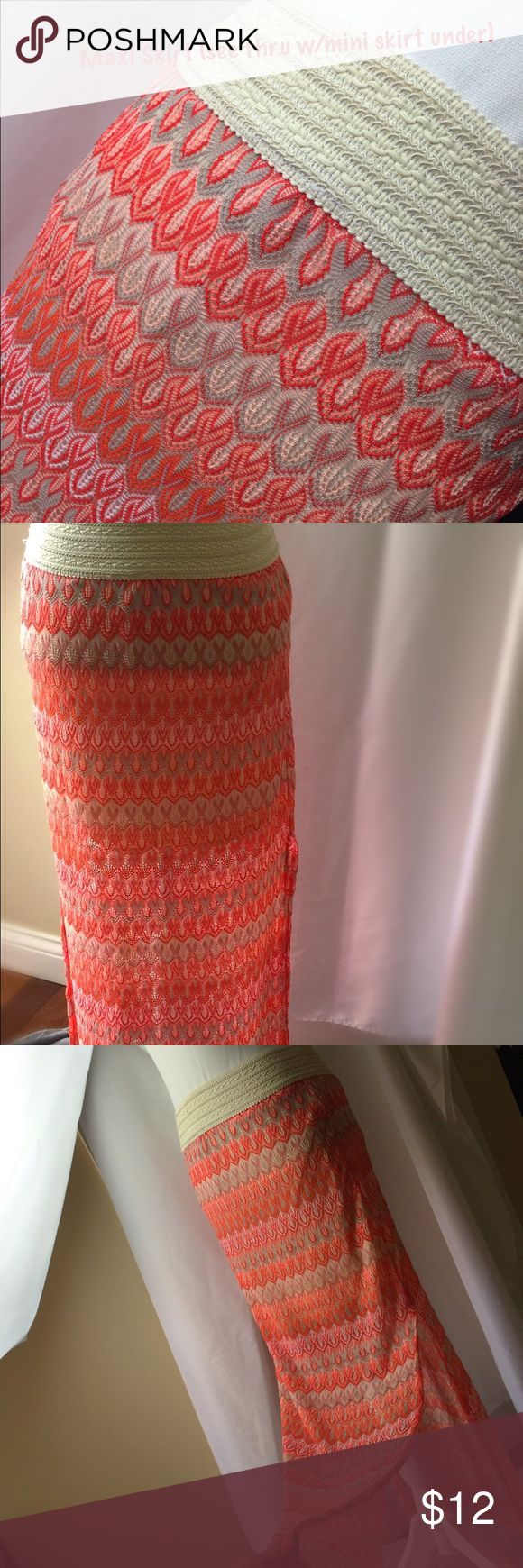 """CUTE!! MAXI SKIRT-see thru w/mini skirt underneath Joe B Maxi Skirt. Wide off white/cream stretchy elastic waist band. Never worn.  Gorgeous colors (orange, peach, tan, cream).  Slits on both sides (not all the way up).  Transparent with mini skirt underneath (attached) for super cute look.  Material is thin with small """"holes"""" where it keeps you cool in summer.  Great for beach, vacation, dress up or down. Size Medium. Joe B Skirts Maxi"""
