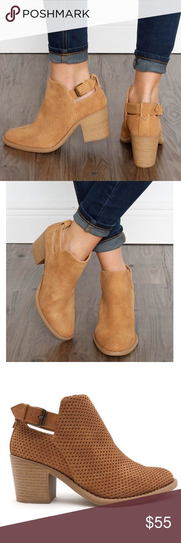 JOSIE cut out suede bootie - TAN Bootie featuring perforated faux suede & side buckle. ACTUAL COLOR IS PIC 3 NO TRADE, PRICE FIRM Shoes Ankle Boots & Booties