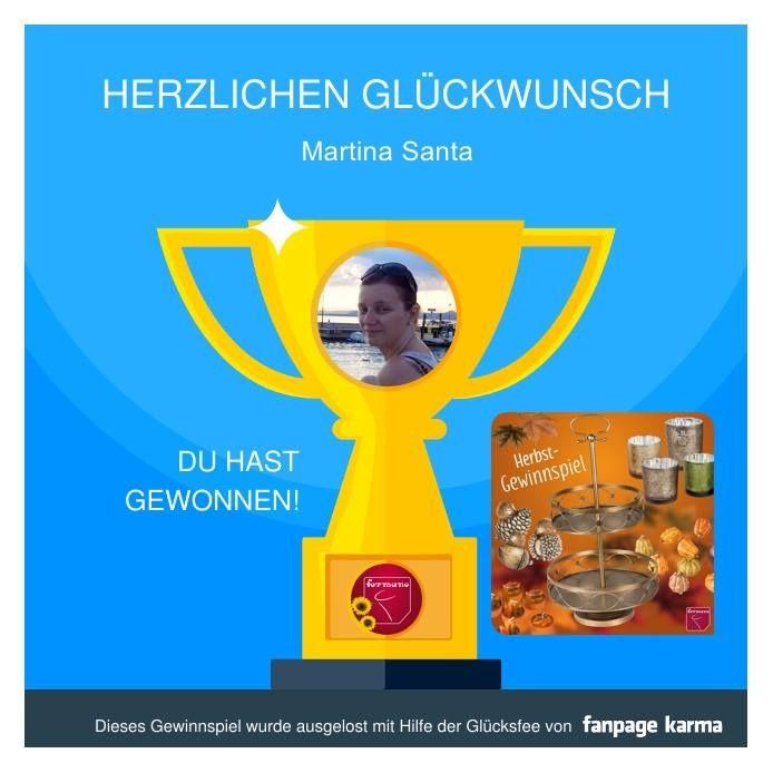 DER GEWINNER STEHT FEST!   Erst einmal vielen Dank für die überwältigende Teilnahme an unserem ersten Gewinnspiel. Ihr seid SPITZE!!!   Über die wunderschöne Herbstdekoration darf sich Martina Santa freuen!   An alle die nicht gewonnen haben: Keine Sorge das nächste Gewinnspiel wartet im November auf euch.   Wir drücken euch die Daumen! Euer Formano Team!