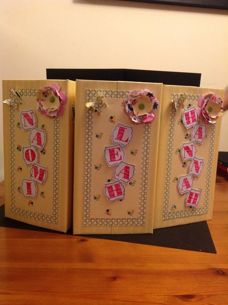 Three memory books for three sisters.   Xmas pressie order xxxx. Garden gingham, blossom and pansy punches, elegant butterfly and morning post letters.  X
