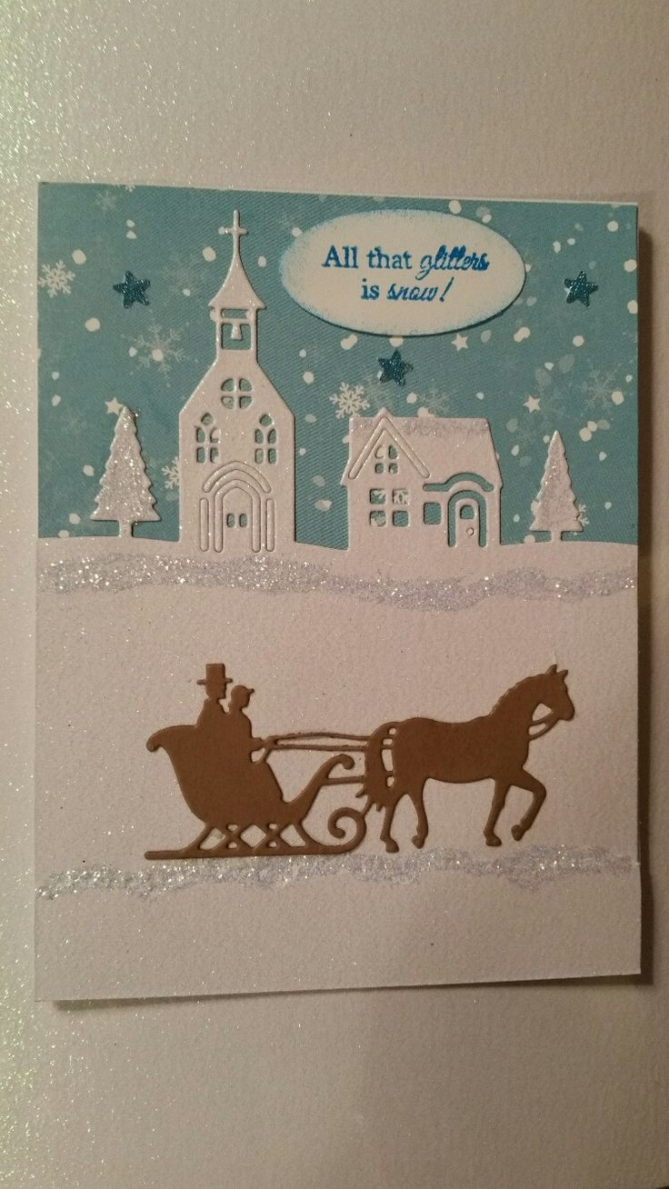 Hometown Edlgelits Die Set from Stampin Up! Horse w. Sleigh Die by Cottage Cutz. Glitter background paper from Michaels. Stars punched out by hand punch from Hobby Lobby.