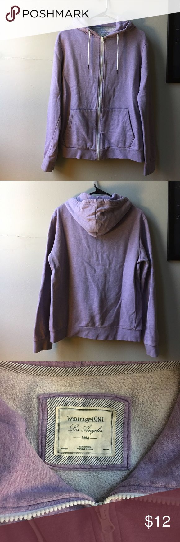 Light Purple Zip Up Sweatshirt Cozy purple sweatshirt with white details. Gently worn but in good condition. I purchased this with two holes in the side, but sewed them up as seen in the 4th photo. Hardly noticeable because the defects are under the arm. Size is a men's medium, so it fits like a medium/large. Forever 21 Sweaters Zip Up
