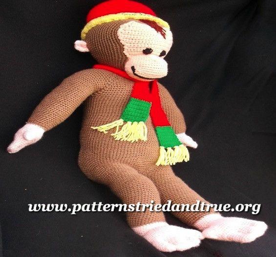 Curious George Monkey adaptation. Easy to follow crochet pattern. www.patternstriedandtrue.org