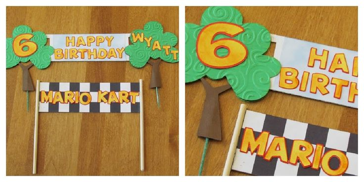 DIY Mario Kart Birthday Cake Banner made with Cricut