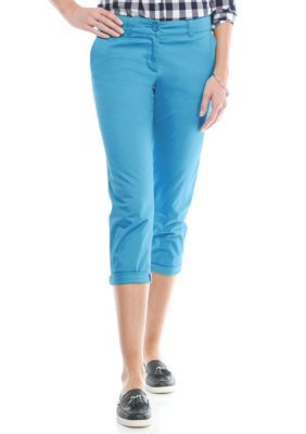 Crown  Ivy  Rothko Aqua Petite Size Solid Casual Crop Pants