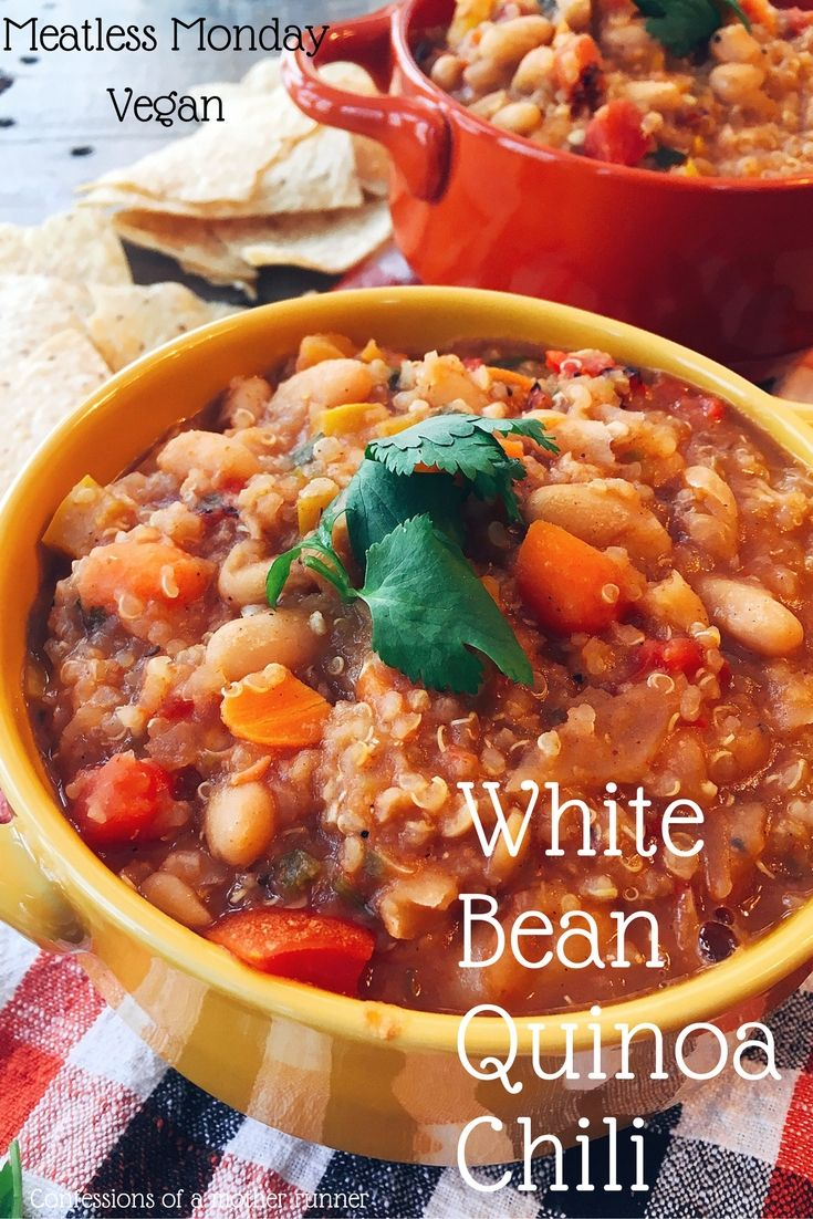 Chilly outside? Chili inside! Full of plant based protein& goodness this warm bowl of Vegan White Bean Quinoa chili is sure to keep you warm and satisified