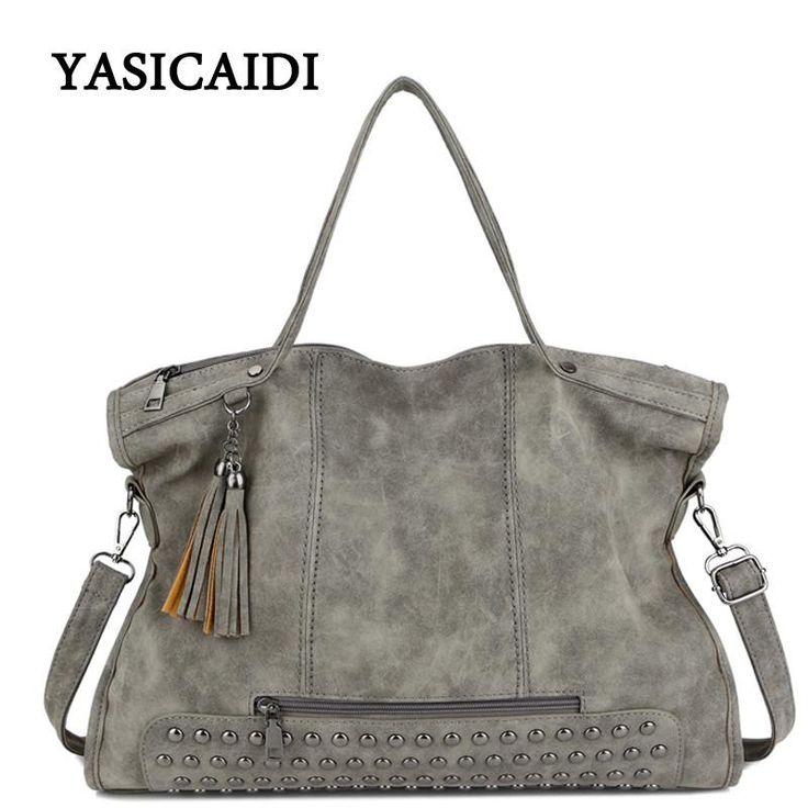 Famous Brand Rivet Handbag Fashion Women Tassel Shoulder Bag Pu Leather