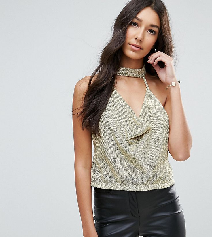 ASOS TALL Top with Cowl Neck in Chain Mail - Gold