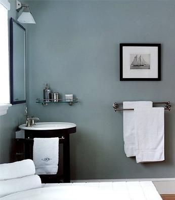 Blue Or A Contemporary Bathroom In Smokey Blue With Stainless Steel