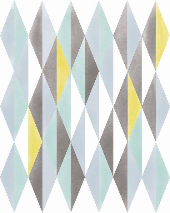 Abstract Print Wall Decor, Norwegian Digital Print Geometric Pattern Home Decor, Nordic Scandinavian Mid Century Vintage Modern Abstract Art.   http://www.etsy.com/shop/ParadaCreations  $19.00, via ParadaCreations on Etsy.