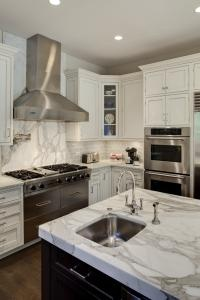 Marble bench - white cabinetry