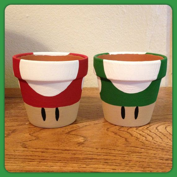 Super Mario Mushroom Planting Pot Red by K8BitHero on Etsy, $10.00
