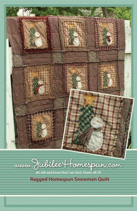 Ragged Shabby Snowman Quilt Pattern Printed Christmas
