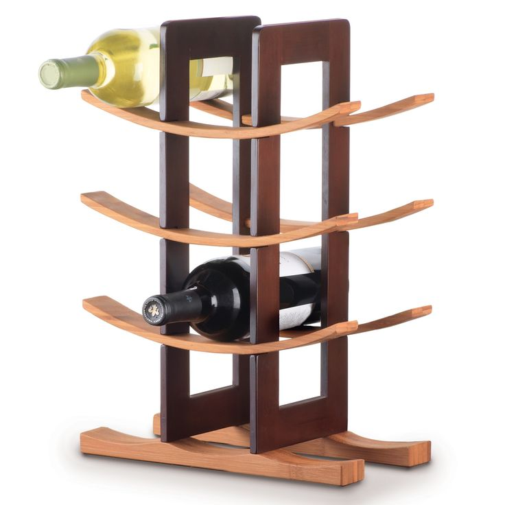 Features:  Finish: -Espresso.  Material: -Wood.  Mount Type: -Tabletop.  Wine Bottle Capacity: -12.  -Stylish wine rack with modern asian aesthetic.  -Multi-functional use.  -3 Curved shelves and base