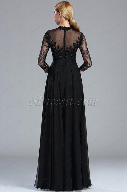 eDressit Robe de soirée Chic Manches Lonques Noire (02173700)