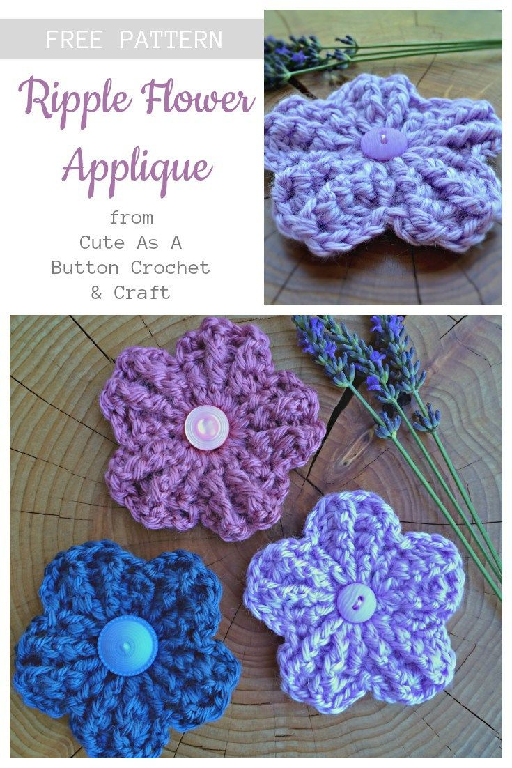 """I love the """"ripple"""" effect that is created in these pretty little flowers by using front and back post double crochets. A fun new twist to a simple flower. I hope you enjoy it! Materials: Crochet Hook: US I (5.5 mm) Any worsted weight yarn Scissors Yarn Needle Stitches Used: (ch) chain (sl st) slip … Continue reading Ripple Flower Applique →"""