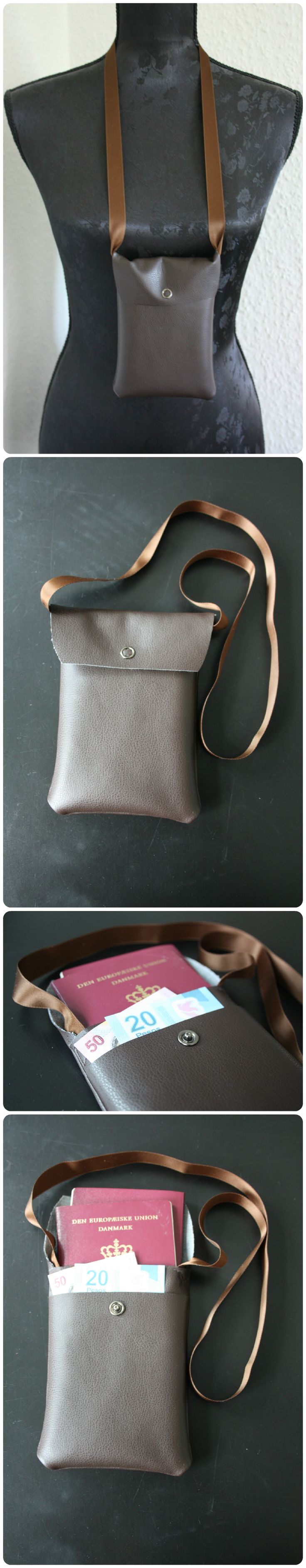 Passport and money neck purse   Faux leather   Mogina Accessories