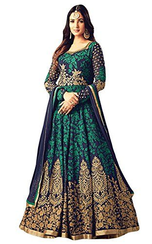 Laxminarayan Ready Made Green Georgette Fabric Heavy Embroidered Designer Long Anarkali Salwar Suit - The Top is Georgette material in Designer Patterns with elegant Heavy embroidery at Front. Bottom is Santoon material in Churidar Style in matching with embroidery as shown.. Dupatta is Nazmeen material with Work. Kameez Length = 55 inches approx.. If you need shorter length , then please inform ...