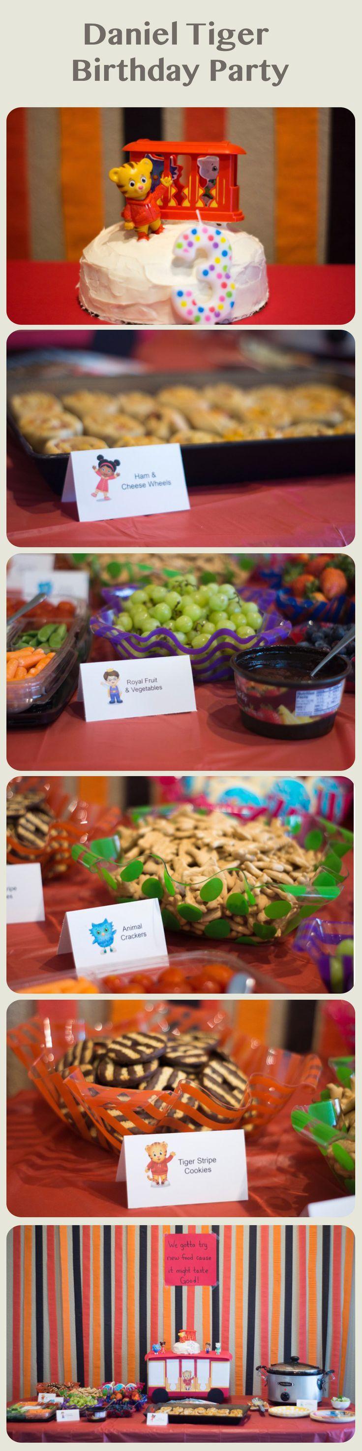 Daniel Tiger Birthday Party. DIY decorations. Food ideas. Trolley cake stand.