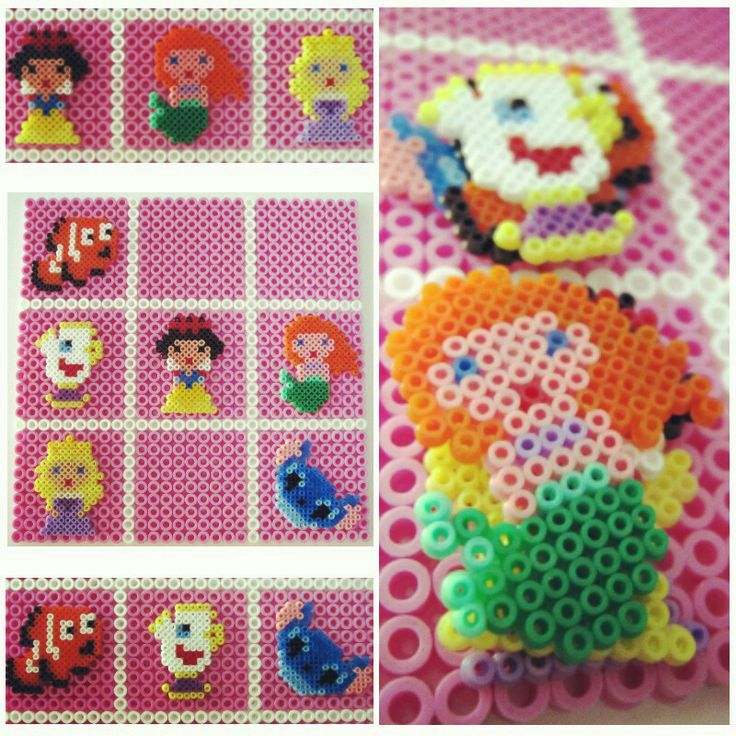 Tres en raya de princesas, para Elena que pronto es su cumpleaños! xD #hamabeads #princesa #Disney #regalo #cumpleaños #lascosasdelalma #pink #rosa #Ariel #blancanieves #Cenicienta #nemo #love