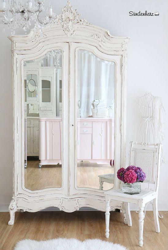 Shabby Chic Kleiderschrank, vintage möbel, jugenstil kleiderschrank, antiker kleiderschrank