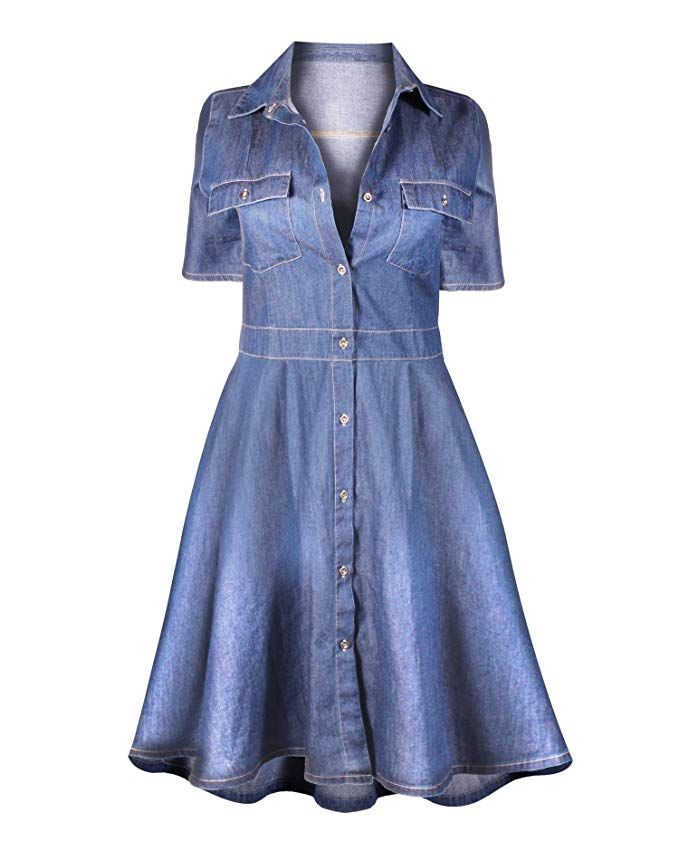 accb7abcaf HOT FROM HOLLYWOOD Women s Casual Button Down Cotton Denim Pocket Fitted  Dress
