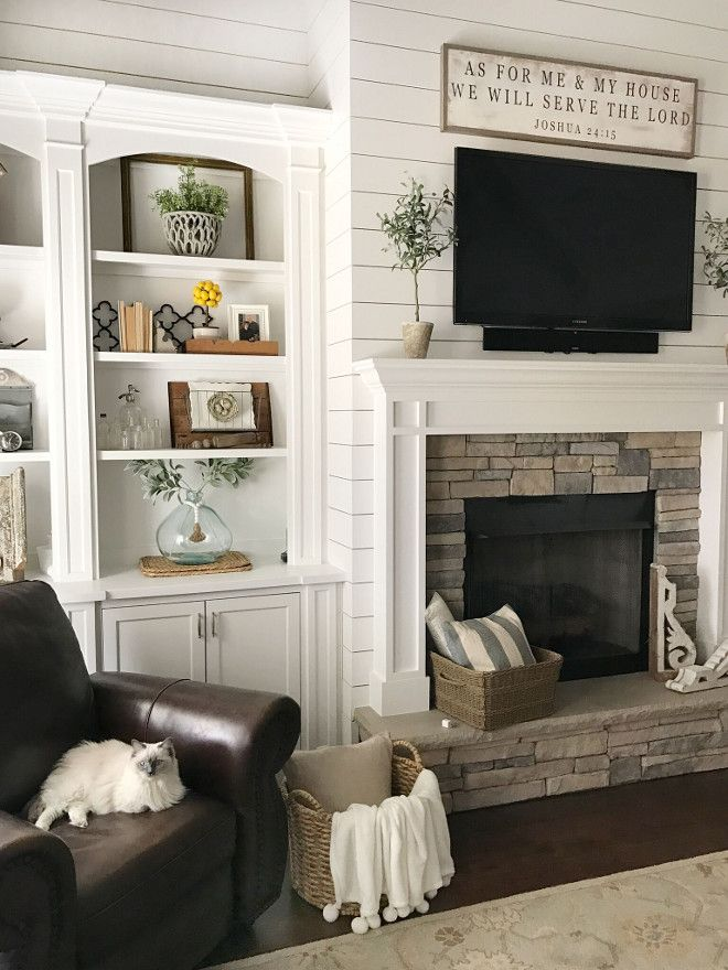 Shiplap Fireplace Paint Color. White shiplap paint color is Sherwin Williams Snowbound. #Shiplap #SherwinWilliamsSnowbound #Shiplappaintcolor Beautiful Homes of Instagram @ourvintagenest