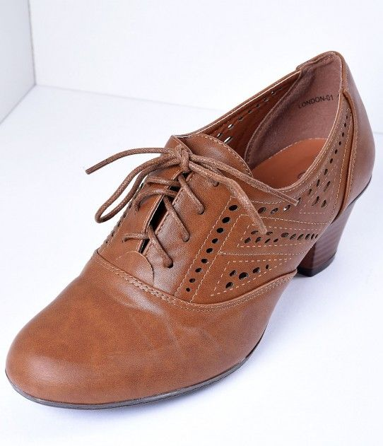 Tan Brown Lace Up Perforated Oxford Mid Heels