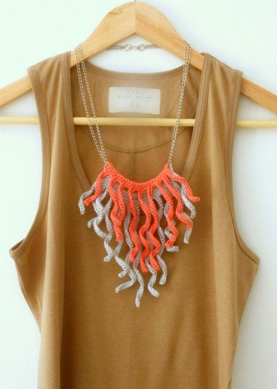 Crochet fringes necklace. Salmon pink and pale grey cotton yarn. by Sidirom