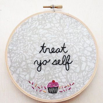 Treat Yo Self Parks and Recreation Embroidery NBC Aziz Ansari Ron Swanson TV Character Hand Hoop Art TV Wall Art Funny Embroidery