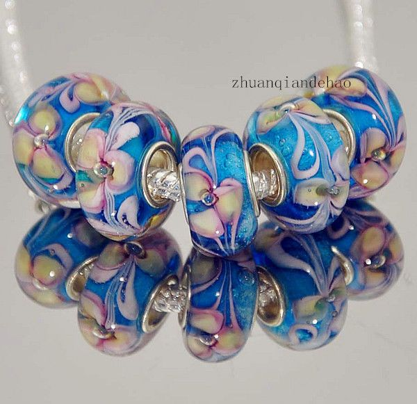 murano glass beads blue yellow pink big hole raised floral lampwork silver european charm bracelets 1 piece by on etsy