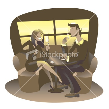 Man and woman at Cafè drinkin coffee Royalty Free Stock Vector Art Illustration