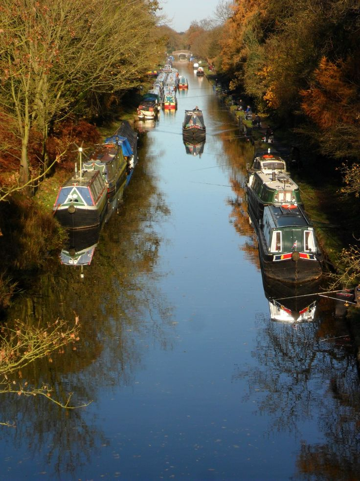 Canal Boats on the Shropshire Union Canal at Brewood, Staffordshire, England.