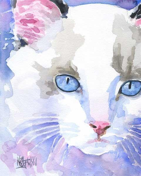 Ragdoll cat watercolor - Ron Krajewski