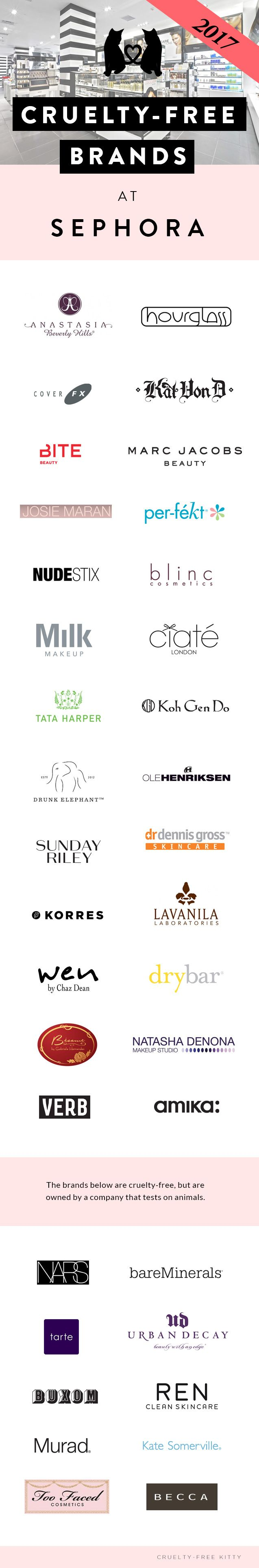Cruelty free brands at sephora vs owned by animal testing parent companies 2017