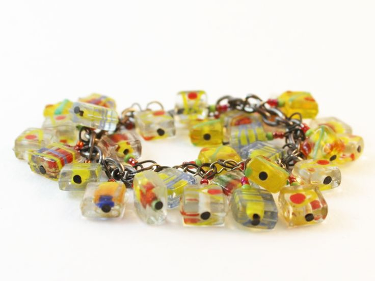 Another bright and colorful glass charm bracelet.