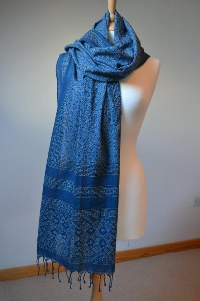 Ajrak handprinted cotton light red and blue Shawl - Folksy
