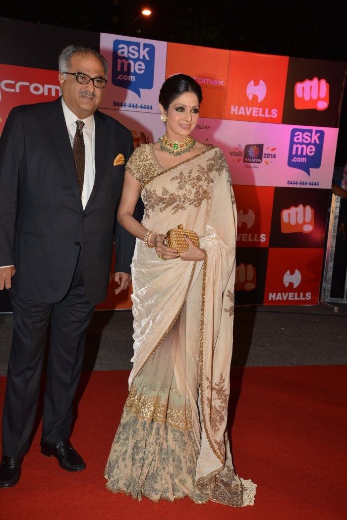 Buy Bollywood Replica Sridevi Moss velvet and Georgette Saree in Beige colour in Mauritius, Fiji, Australia, UK, USA and Canada through online shopping. This bollywood lehenga comes with the worldwide free shipping offer