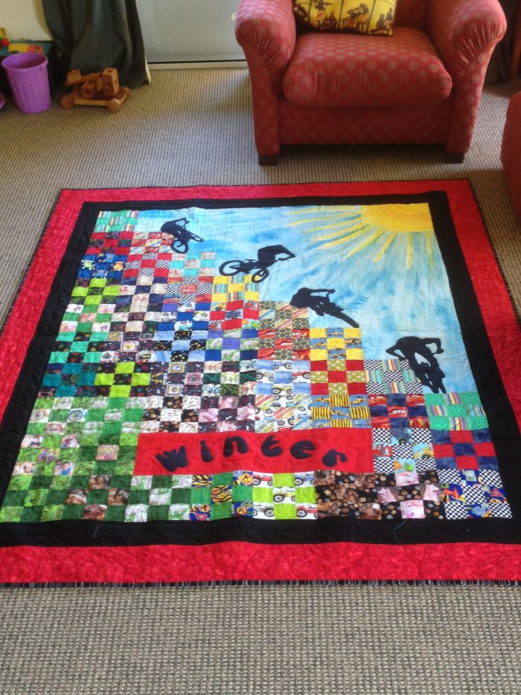 Inspired by 'Stairway to Cat Heaven', I made this bike quilt for my 4 year old grandson