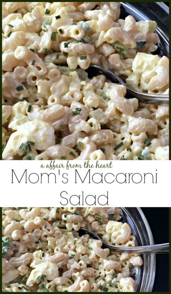 Mom's Macaroni Salad   An Affair from the Heart - Macaroni salad with hard boiled eggs, celery and a creamy dressing with mayo and mustard. Easy to make and delicious!