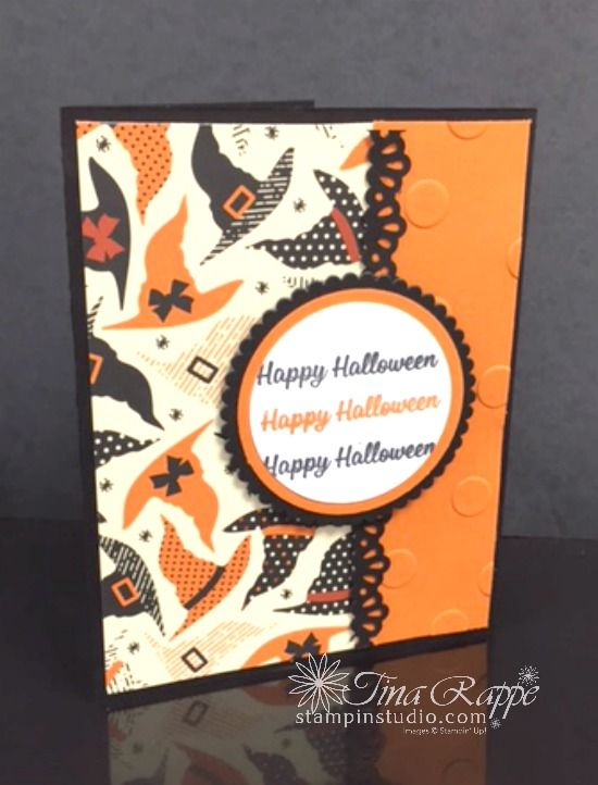 Stampin' Up! Spooky Cat stamp set,  Cat Punch, Spooky Night Designer Series Paper, Vintage Crochet Trim, Halloween Card, Stampin' Studio