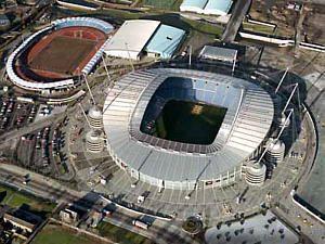 City of Manchester Stadium | Etihad (formerly the City of Manchester) Stadium. Aerial Photo ...