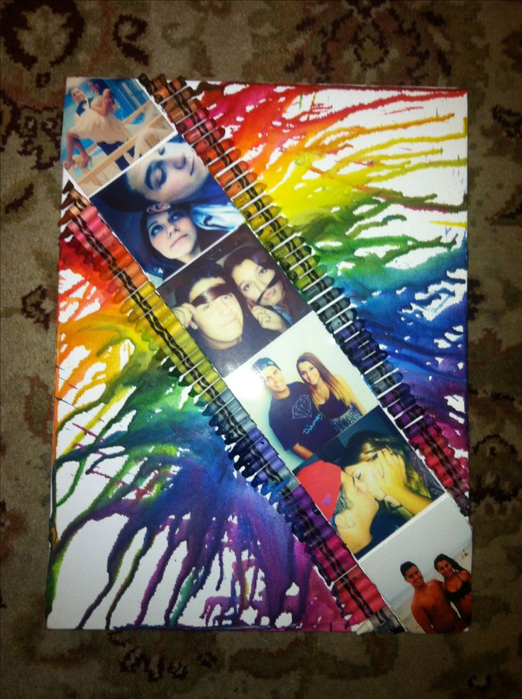 Crayon Canvas Art I made for my boyfriend(:  << I would do this for so many different people!!!