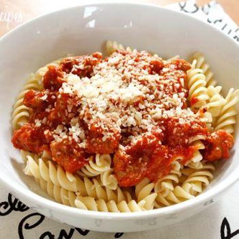 Turkey Sausage and Tomato Sauce over Pasta I Skinnytaste | Weight ...