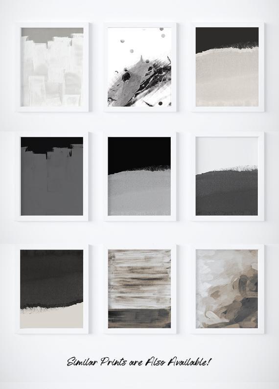 Black and White Art Print, Abstract Print, Minimal Art, Watercolor Art, Nursery Art, Dark Gray Prints, Light Gray Wall Art, Wave White Print