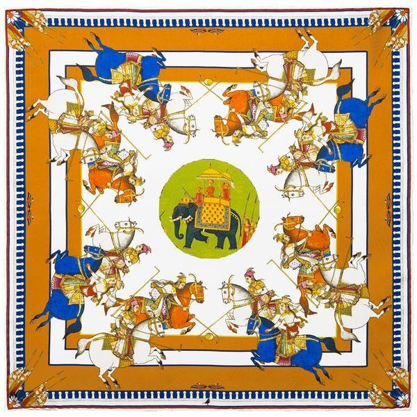 Navy blue /& orange Silk Pocket square Elephants print 42cm Hand rolled