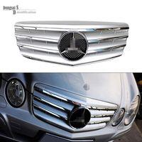 Mercedes W211 LCI 2007 - 2009 front grill mesh 2-Fin Silvery Sports Grille for Benz E200 E220 E270 E280 E320 E400 E240 E350 E500