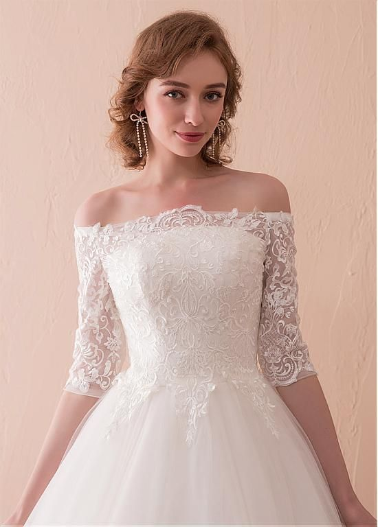 6151a97cf7 In Stock Wonderful Tulle Off-the-shoulder Neckline 3 4 Length Sleeves A-line  Wedding Dress With Lace Appliques - Adasbridal.com