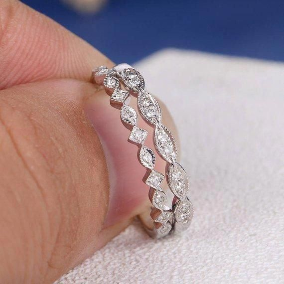 Man Made Diamond Simulant Delicate Bridal Ring 2.7mm Wedding Band Promise Ring 1 ctw Full Eternity Ring Stacking Ring Sterling Silver